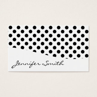 Modern Black and White Polka Dot Business Cards
