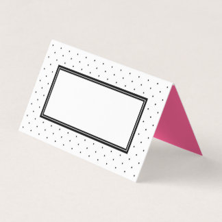 Modern Black and White Polka Dot with Pink Place Card