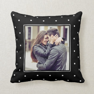 Modern Black And White Polka Dots With Your Photo Throw Pillow at Zazzle