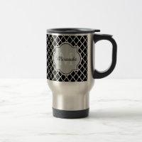 Modern Black and White Quatrefoil Monogrammed Name Travel Mug