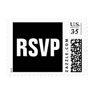Modern black and white RSVP postage stamps