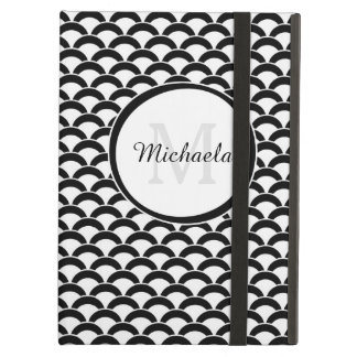Modern Black and White Scallops Monogram and Name iPad Air Cover