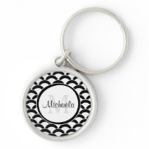 Modern Black and White Scallops Monogram and Name Keychain