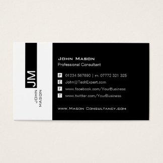 Modern Black and White Social Media Business Card