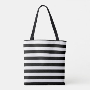 Modern Black and White Stripe Tote Bag
