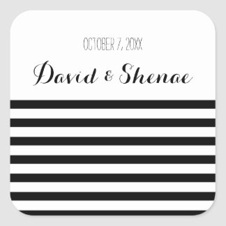 Modern Black and White Stripe Wedding Stickers