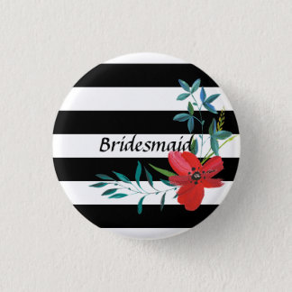 Modern Black and White Striped Bridesmaid Button