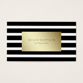 Modern black and white striped with gold business card