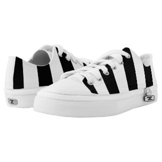 Modern Black and White Stripes Pattern Low-Top Sneakers