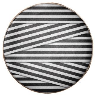 Modern black and white stripes pattern monochrome chocolate dipped oreo