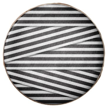 girly_trend Modern black and white stripes pattern monochrome chocolate dipped oreo
