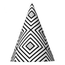 Modern Black And White Stripes Tribal Pattern Party Hat