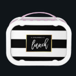 """Modern Black and White Stripes with Faux Gold Lunch Box<br><div class=""""desc"""">This stylish and modern lunch box features bold black and white stripes,  with a faux gold look frame in the center with trendy typography.</div>"""