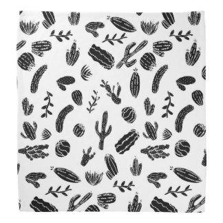 Modern Black and White Succulent Cactus  Pattern Bandana