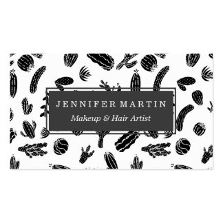 Modern Black and White Succulent Cactus  Pattern Business Card