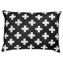 Modern black and white Swiss cross pattern pet bed