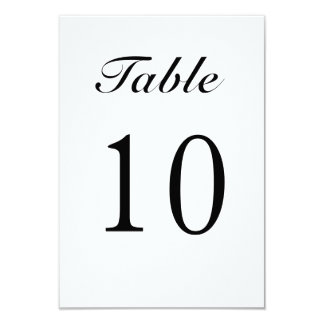 Modern Black and White Table Numbers Card