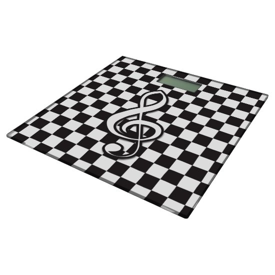 Modern Black and White Treble Clef on Checkerboard Bathroom Scale