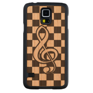 Modern Black and White Treble Clef on Checkerboard Carved Cherry Galaxy S5 Slim Case