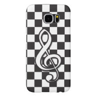 Modern Black and White Treble Clef on Checkerboard Samsung Galaxy S6 Cases