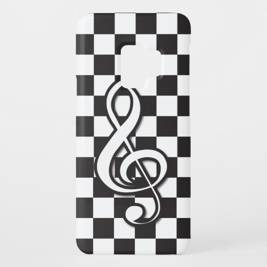 Modern Black and White Treble Clef on Checkerboard Case-Mate Samsung Galaxy S9 Case