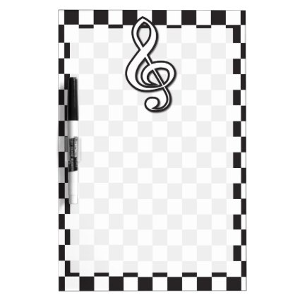Modern Black and White Treble Clef on Checkerboard Dry-Erase Boards