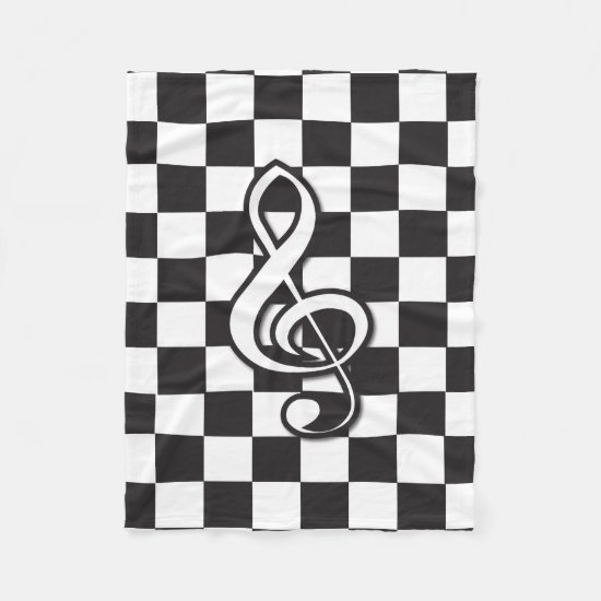 Modern Black and White Treble Clef on Checkerboard Fleece Blanket