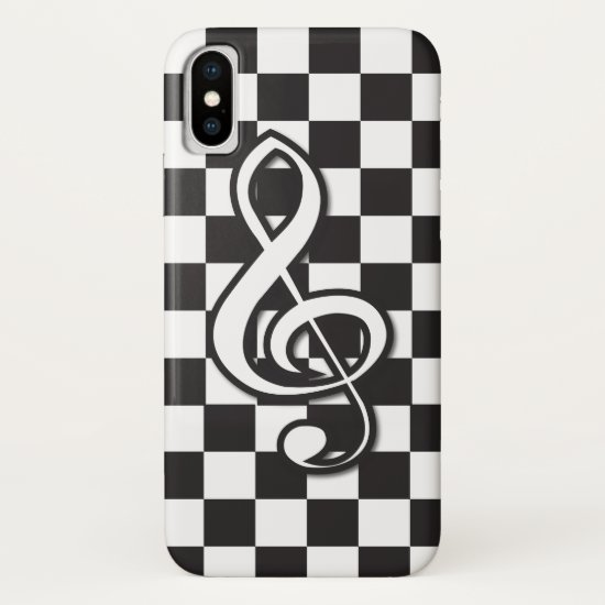 Modern Black and White Treble Clef on Checkerboard iPhone XS Case