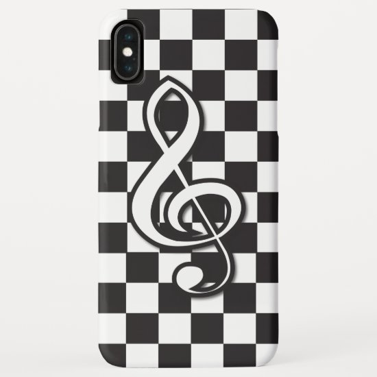 Modern Black and White Treble Clef on Checkerboard iPhone XS Max Case