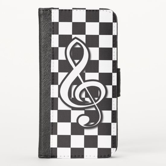 Modern Black and White Treble Clef on Checkerboard iPhone XS Wallet Case