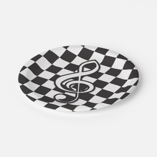 Modern Black and White Treble Clef on Checkerboard Paper Plate