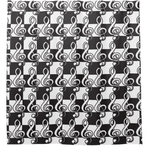 Modern Black And White Treble Clef On Checkerboard Shower
