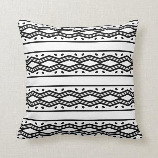 Modern Black and White Tribal Horizontal Stripes | Throw Pillow