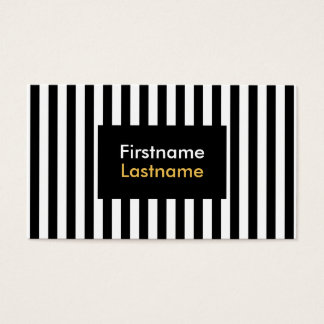 Modern Black and White Vertical Stripes Business Card