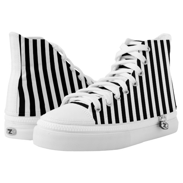 modern black and white vertical stripes shoes printed