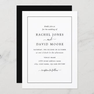 Modern Black And White Wedding Invitation