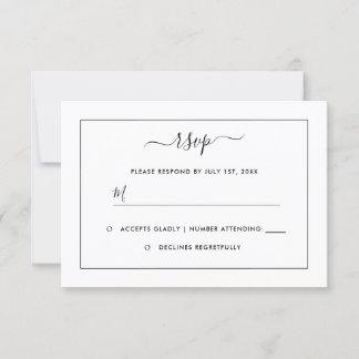 Modern Black And White Wedding RSVP Card