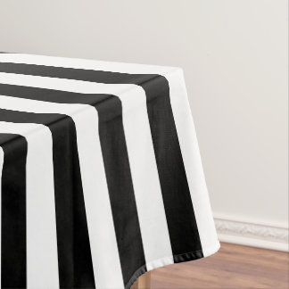 Modern Black and White Wide Stripe Tablecloth