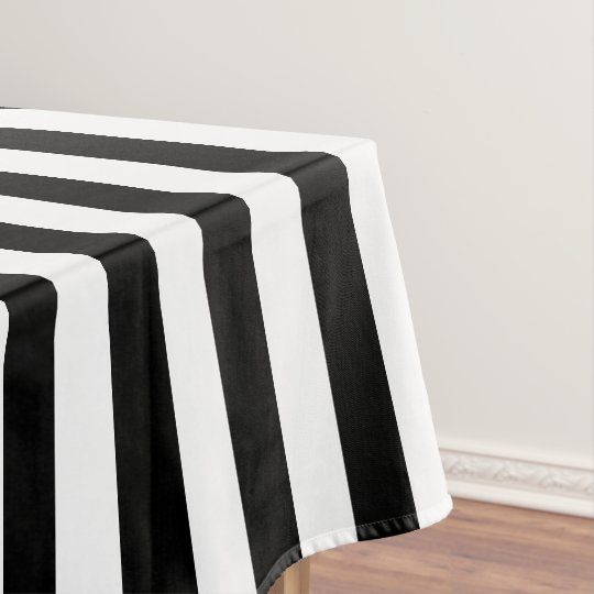 Modern Black And White Wide Stripe Tablecloth Part 73