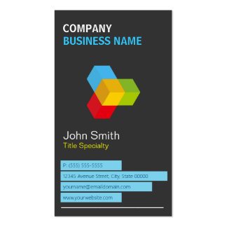 Modern Black and White with Colorful 3D Cube Logo Double-Sided Standard Business Cards (Pack Of 100)
