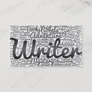Word cloud business cards zazzle modern black and white word cloud writers authors business card reheart Choice Image