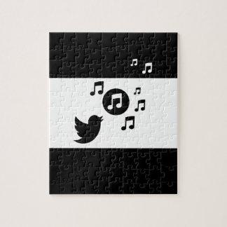 Modern black and whites singing bird jigsaw puzzle