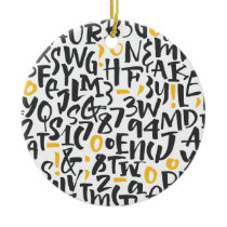 Modern Black and Yellow Typography. Ceramic Ornament