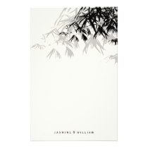 Modern Black Bamboo Zen Asian Wedding Stationery