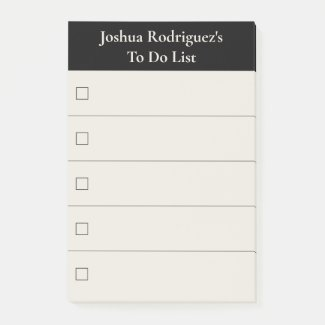 Modern Black Beige To Do List with Name Post-it Notes