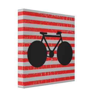 modern black bicycle & red stripes stretched canvas prints
