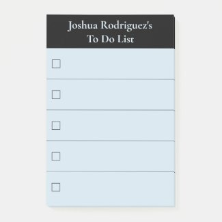 Modern Black Blue To Do List with Name Post-it Notes