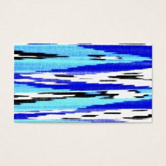 Modern black blue white ikat chevron pattern business card