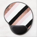 "Modern black blush pink rose gold geometric stripe gel mouse pad<br><div class=""desc"">A modern and trendy black ,  faux rose gold foil and pastel blush pink geometric minimal stripes pattern.</div>"