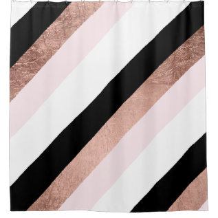 Modern Black Blush Pink Rose Gold Geometric Stripe Shower Curtain at Zazzle